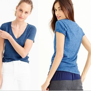 J. Crew Vintage Cotton Blue V-Neck T-Shirt
